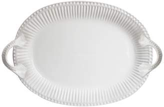 Jay Import Bianca Ridge White Oval Platter