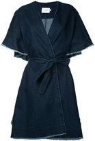 Co-Mun - ruffled short sleeve denim coat - women - Cotton - 40