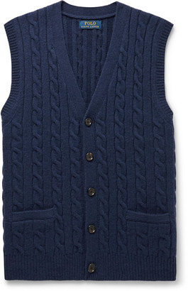Polo Ralph Lauren Slim-Fit Cable-Knit Wool And Cashmere-Blend Sweater Vest