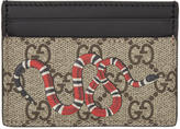 Gucci Beige Snake Gg Supreme Card Holder