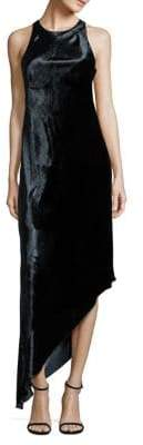 Aidan Mattox Velvet Asymmetrical Bias-Cut Dress