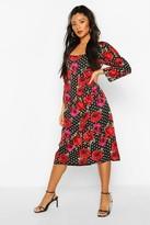 boohoo Mix Polka Dot Rose Print Puff Sleeve Midi Dress
