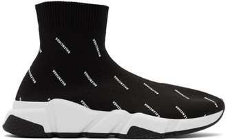Balenciaga Black All Over Logo Speed Sneakers