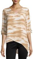 MICHAEL Michael Kors Asymmetric Printed Tab-Sleeve Blouse, Ecru/Multi