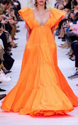 Valentino Ruffled Neckline Deep-V Gown