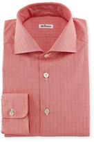 Kiton Glen-Plaid Woven Dress Shirt, Coral