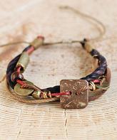 Nautilus Goldtone & Brown Rope Charm Multi-Strand Leather Bracelet