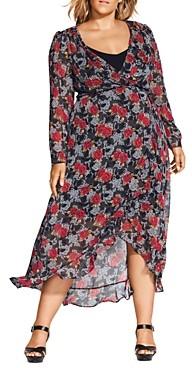 City Chic Plus Floral Print Wrap Maxi Dress