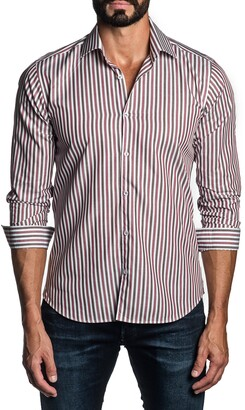 Jared Lang Regular Fit Stripe Button-Up Shirt