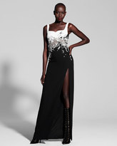 J. Mendel Embellished Two-Tone Sweetheart Gown, Black/White