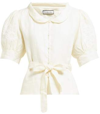 Innika Choo Floral-embroidered Linen Blouse - Womens - Cream