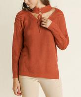 Blu Heaven Rust Lace-Up Side-Slit Cutout Sweater