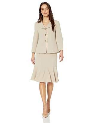 Le Suit Women's 3 Button Petal Collar Crepe Jacket Skirt Suit