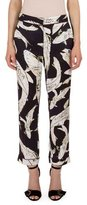Erdem Giulia Koi Pond Cropped Cigarette Pants, Navy/Ecru