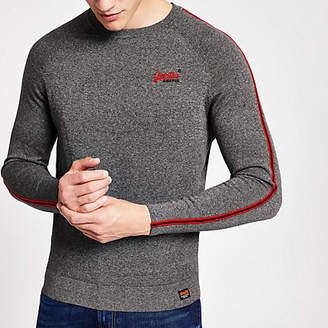 River Island Superdry grey tape sweatshirt