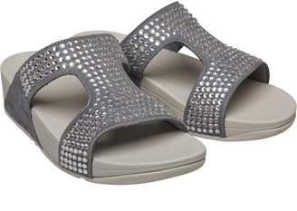 FitFlop Womens Glitzie Slide Sandals Dove Blue
