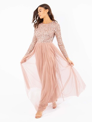 Maya Deluxe Women's Maya Pale Mauve Embellished Long Sleeve Maxi Dress Bridesmaid 6