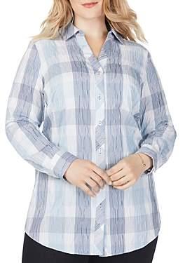 Foxcroft Plus Faith Crinkle-Texture Plaid Shirt