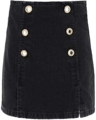 Alessandra Rich Button Embellished Denim Mini Skirt