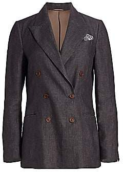 Brunello Cucinelli Women's Chambray Linen Double Breasted Jacket