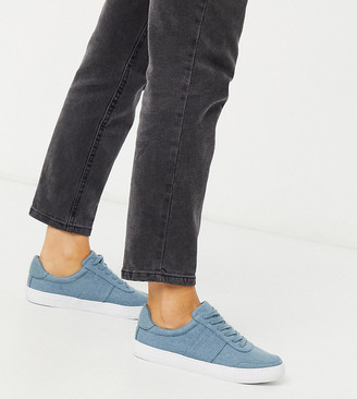 ASOS DESIGN Wide Fit Dime lace up sneakers in denim