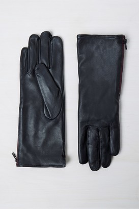 French Connection Leather Zip Gloves