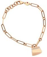 Roberto Coin Sauvage Prive 18K Rose Gold & Diamond Pave Oval Link Charm Bracelet