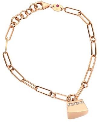 Roberto Coin Sauvage Prive 18K Rose Gold & Diamond Pave Oval Link Charm Bracelet