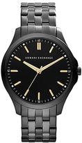 Armani Exchange Mens Black Bracelet Watch with Goldtone Accents