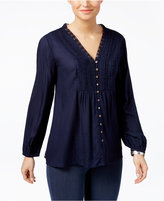 Style&Co. Style & Co Pleated Crochet-Trim Blouse, Only at Macy's