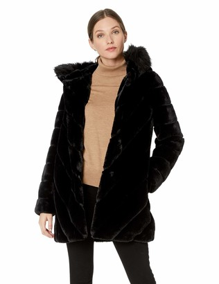 Calvin Klein Women's Faux Fur Trimmed Collar and Diagonal Body Lines
