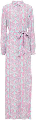 Diane von Furstenberg Belted Snake-print Crepe Maxi Shirt Dress