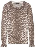 Banana Republic Italian Superloft Leopard-Print Ruffle Cuff Crew