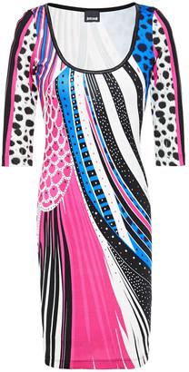 Just Cavalli Metallic-trimmed Printed Stretch-jersey Dress