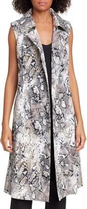 Helene Berman Sleeveless Stretch Cotton Trench Coat