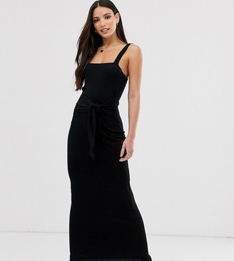 Asos Tall DESIGN Tall tie waist rib maxi dress-Black
