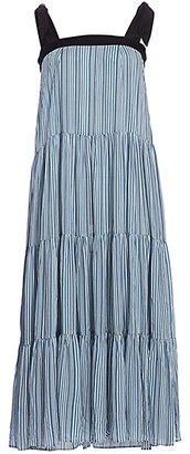 Carolina K. Iris Striped A-Line Tiered Dress