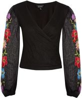 Topshop Floral Embroidered Long Sleeve Crop Top