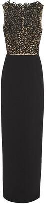 Oscar de la Renta Embroidered Bead-embellished Tulle-paneled Crepe Gown