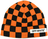 Off-White checker print beanie - unisex - Acrylic - One Size