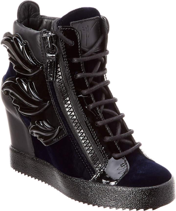 Giuseppe Zanotti Wing Patent & Velvet High-Top Wedge Sneaker