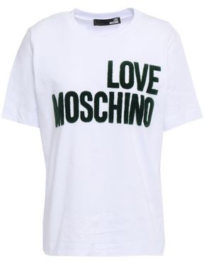 Love Moschino Flocked Cotton-jersey T-shirt