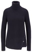 HUGO BOSS - Asymmetric Front Buttoned Sweater In Cotton With Cashmere - Open Blue