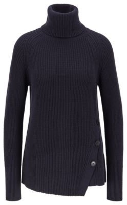 HUGO BOSS Asymmetric Front Buttoned Sweater In Cotton With Cashmere - Light Blue