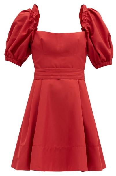 Self-Portrait Puffed-sleeve Taffeta Mini Dress - Red