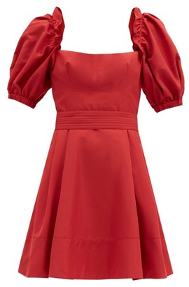 Self-Portrait Puffed-sleeve Taffeta Mini Dress - Red