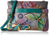 Anuschka Anna By Anna by Women's Genuine Leather Medium Crossbody Handbag | Zip-Top Organizer with Snap Side |Butterfly Paradise