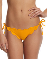 Marysia Swim Mott Tie-Side Scalloped Swim Bottom, Papaya