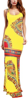 Amoretu Women's Summer Casual Sleeveless Traditional African Party Dress(Red XL)