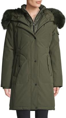 1 Madison Fox Fur-Trim Down Parka Coat